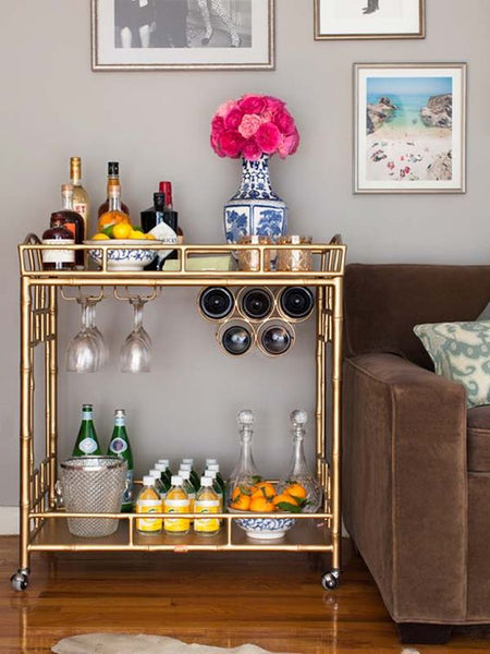 Vintage bar cart with ice bucket