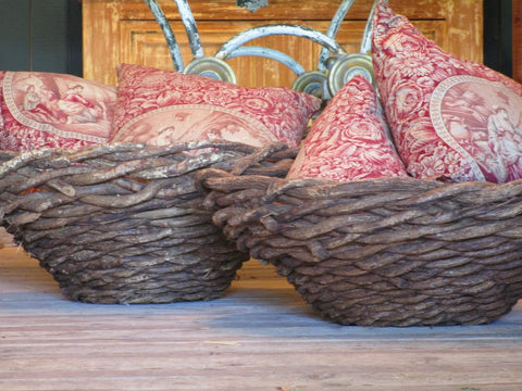Pair of french woven baskets beach house decor farmhouse wisteria large storage