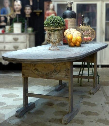 Rustic farmhouse table French winery beaujolais farm table