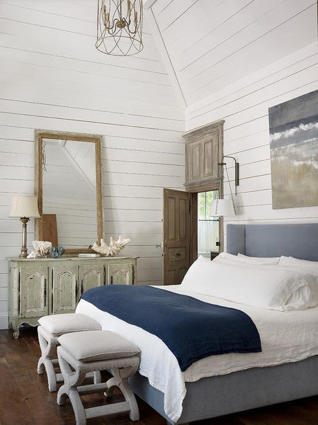 Coastal bedroom beach house blue and white antique mirror