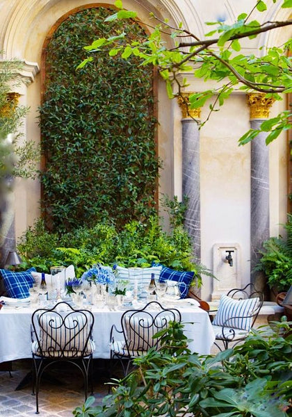 Blue and white garden terrace breakfast in the french garden luxury