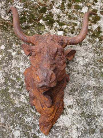 French cast iron bulls head wall mount for sale