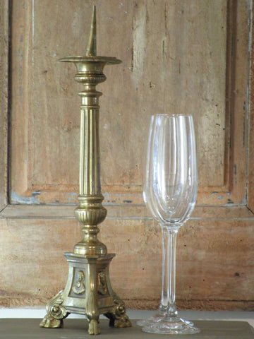 19th century french candlestick from a church in gold copper