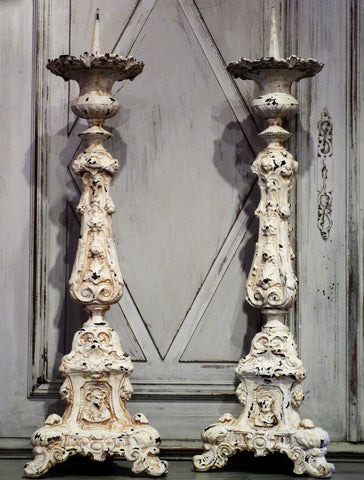 19th century white patina french large candlesticks
