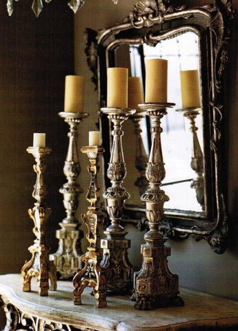 Antique French candlesticks reflecting in a gilt wood mirror buy direct from France modern farmhouse luxury