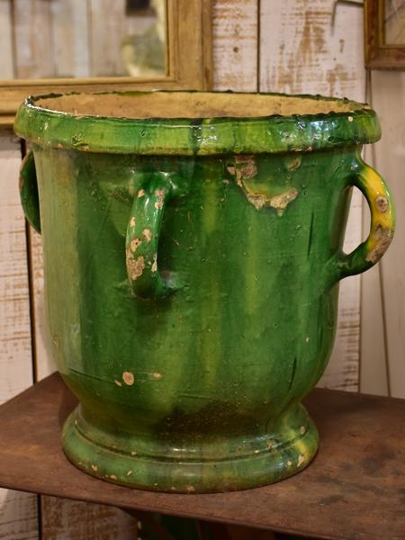 Antique French garden planter with green glaze and handles