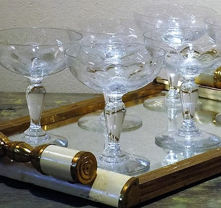 Antique French champagne glasses crystal Francophile best gift ideas christmas birthday mothers day fathers day