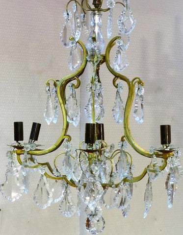 French crystal chandelier with bronze cage 1930's modern farmhouse decor