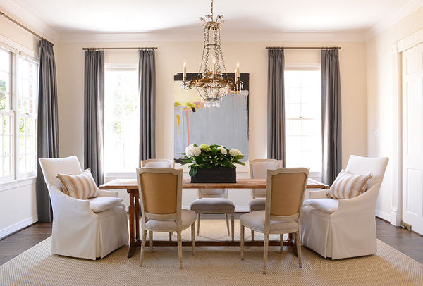 Chandelier dining living room Louis XVI chairs