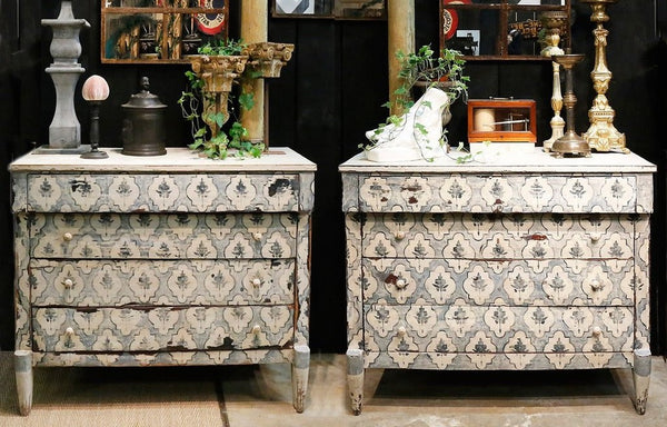 Pair of 19th century painted commodes blue and white modern farmhouse decor