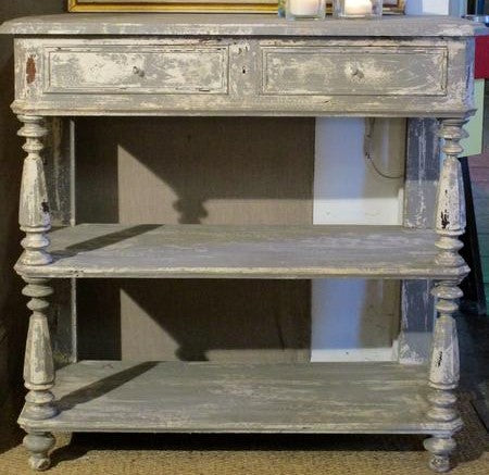 19th century french console with grey patina two open shelves storage buy direct from France