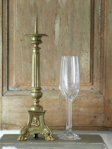 Copper gold candlestick from a french church wedding gift 19th century
