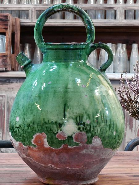19th century Antique French pottery green glaze water jug vintage
