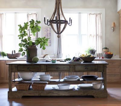 Rustic kitchen island with open storage and lustre modern farmhouse