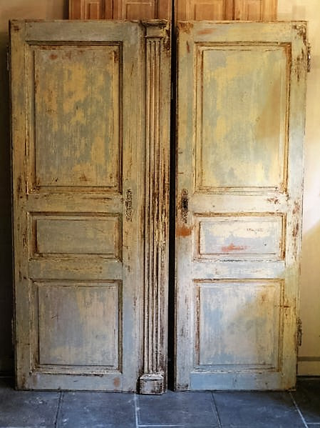 Pair of Louis XVI French doors with original patina modern farmhouse decor