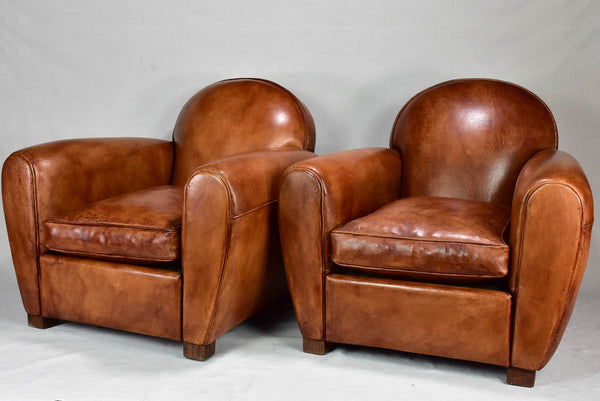 Round back French leather club chair artisan made in France
