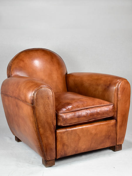 Classic French leather club chair made to order from France