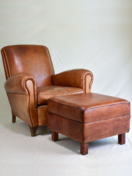 French leather club chairs and ottomans poufs footrests