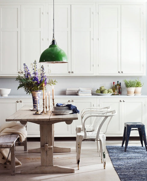 Rustic kitchen table in modern farmhouse kitchen