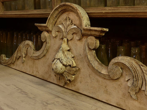 French pediment carved beige patina modern farmhouse rustic decor bedroom
