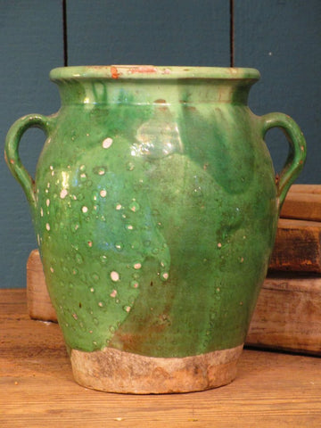 Green glazed French confit pot jar provincial pottery antique 19th century rustic