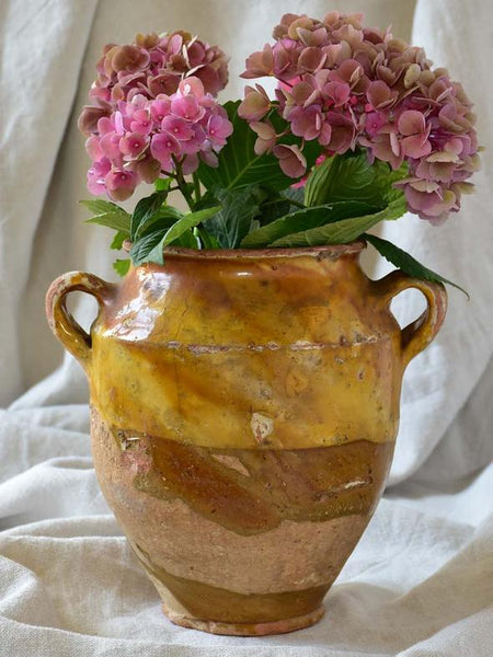Antique French confit pot with hydrangeas