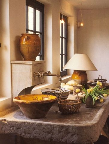 Kitchen sink with antique French pottery