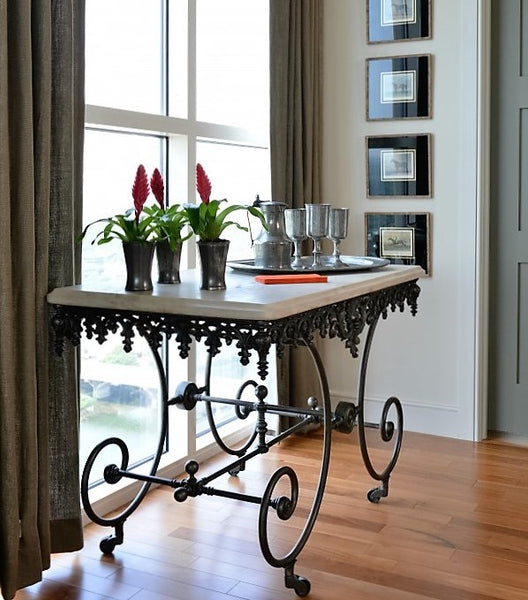 Lucas Eilers Marble top French butcher's table cast iron base on casters buy French furniture online direct from France United States US USA