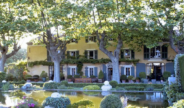 French farmhouse garden wisteria plane trees water feature Lafourcade