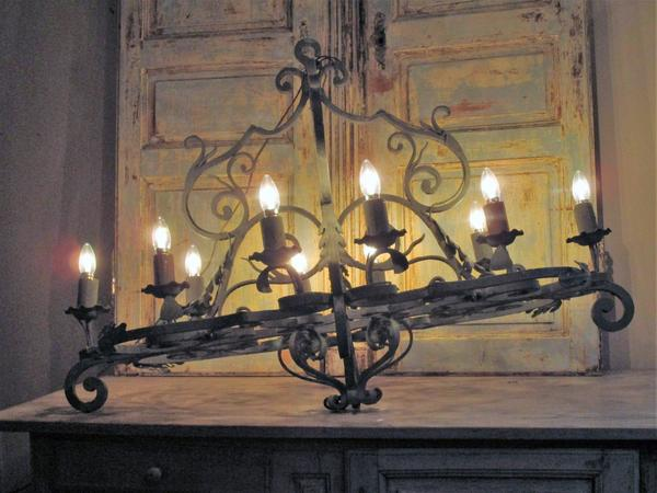 Large french mid century chandelier lustre