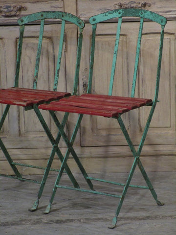 French bistro garden chairs red green folding mid-century