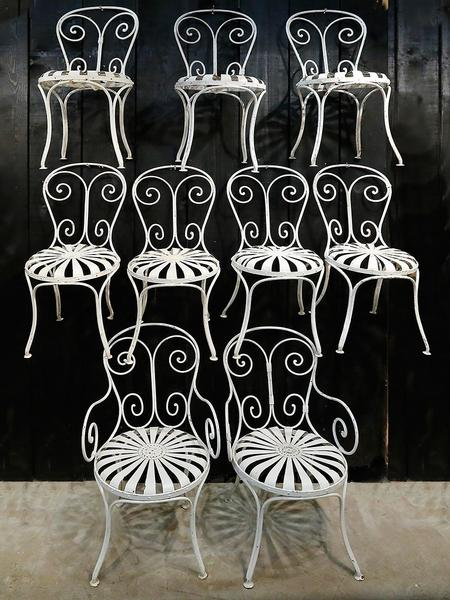 Set of French outdoor wrought iron chairs white french chairs made in Paris