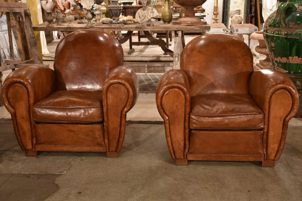 Elegant Pair Of Vintage Club Chairs Leather French For Sale Buy