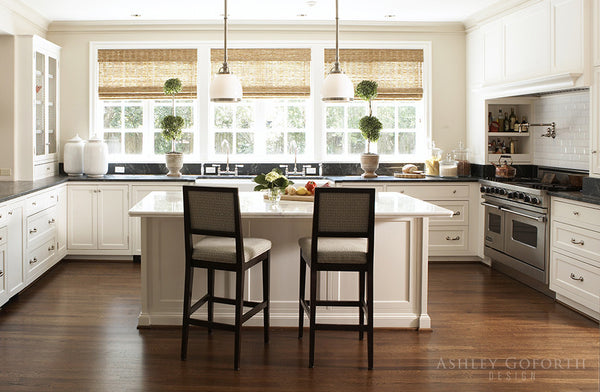 Ashley Goforth classic white kitchen with anduze urns