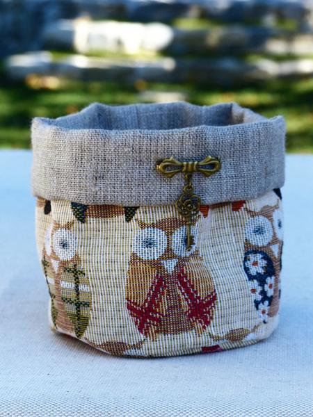 Small fabric basket storage pouch handmade in france french gifts
