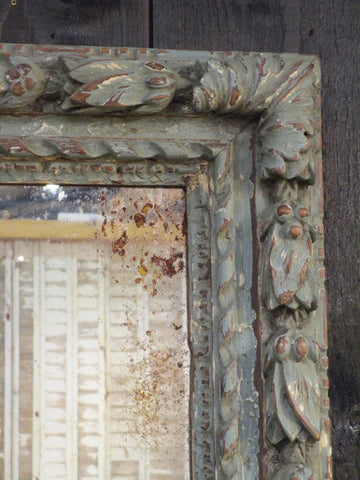 carved 19th century french mirror blue patina pomegranate