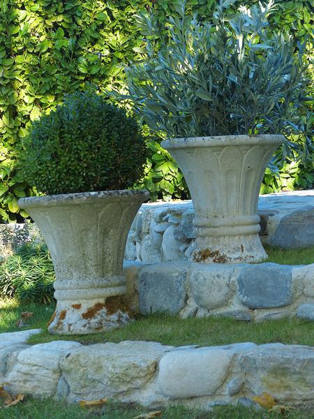 Mid century French garden planters weathered pair