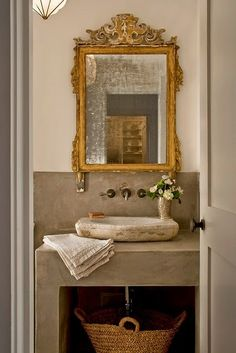 Chic powder room buy the best mirror from France fast shipping to United States