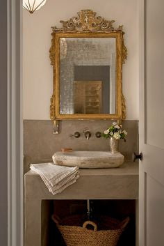 Gilt wood mirror in powder room luxury antique mirror buy french mirrors direct from France modern farmhouse