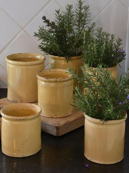 French preserving jars with yellow glaze 19th century yellow ware