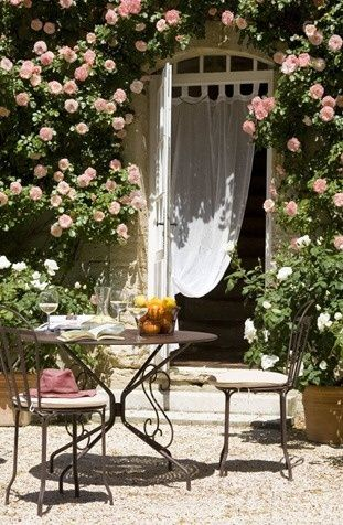 French rose garden breakfast terrace summer holidays luxury