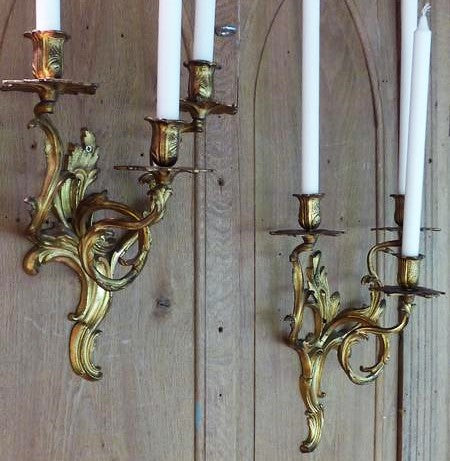 French gold wall sconces candle pair of sconces 19th century