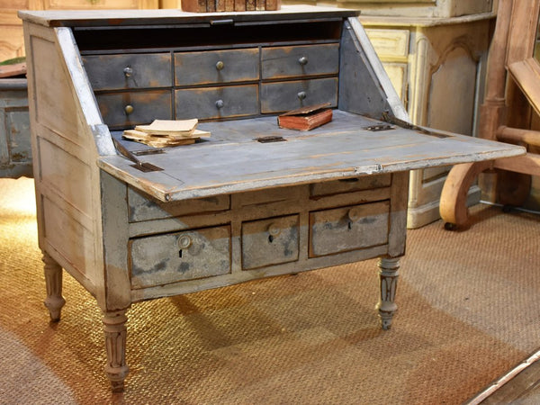 Antique French secretaire with blue patina