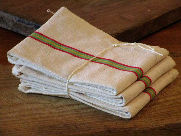 Set of 3 torchons french linen striped serviettes