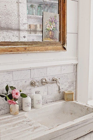marble sink gilt wood mirror luxury modern farmhouse