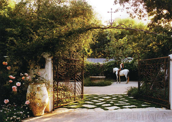 Kelly Harmon French garden gate and antique olive jar