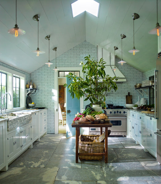 Steven Gambrel Sag Harbor beach house modern farmhouse rustic kitchen island