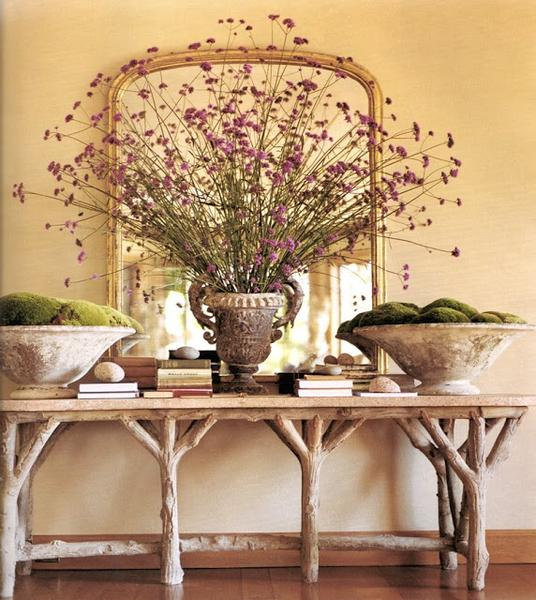 Willy Guhl planters on Faux bois table with antique gilt mirror