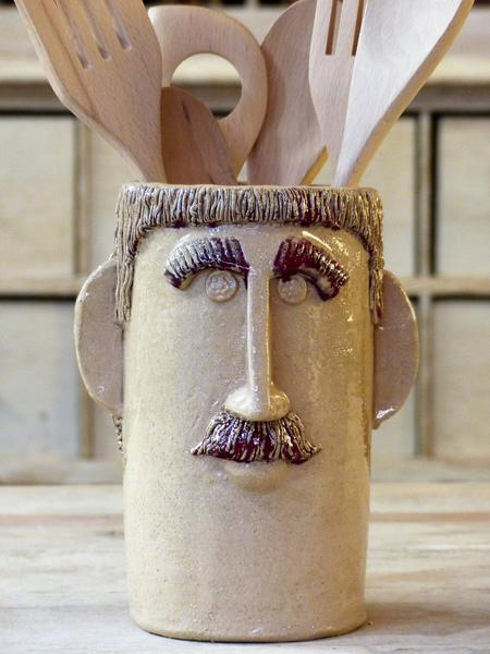 """Monsieur Frédéric"" sculptural utensil holder french artisan pottery buy online from France"