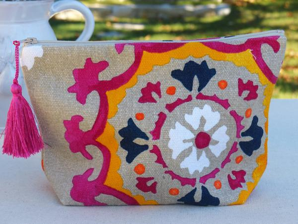 French wash bag toiletry bag pink linen pattern gift idea fast shipping